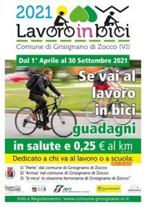 Locandina rappresentante l'iniziativi lavoro in bici 2021